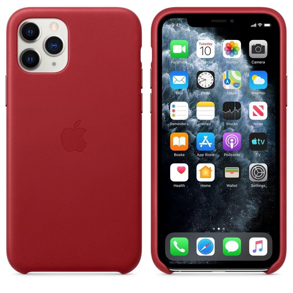 Apple iPhone Leather Case — оригинален кожен кейс (естествена кожа) за iPhone 11 Pro (червен) - 1