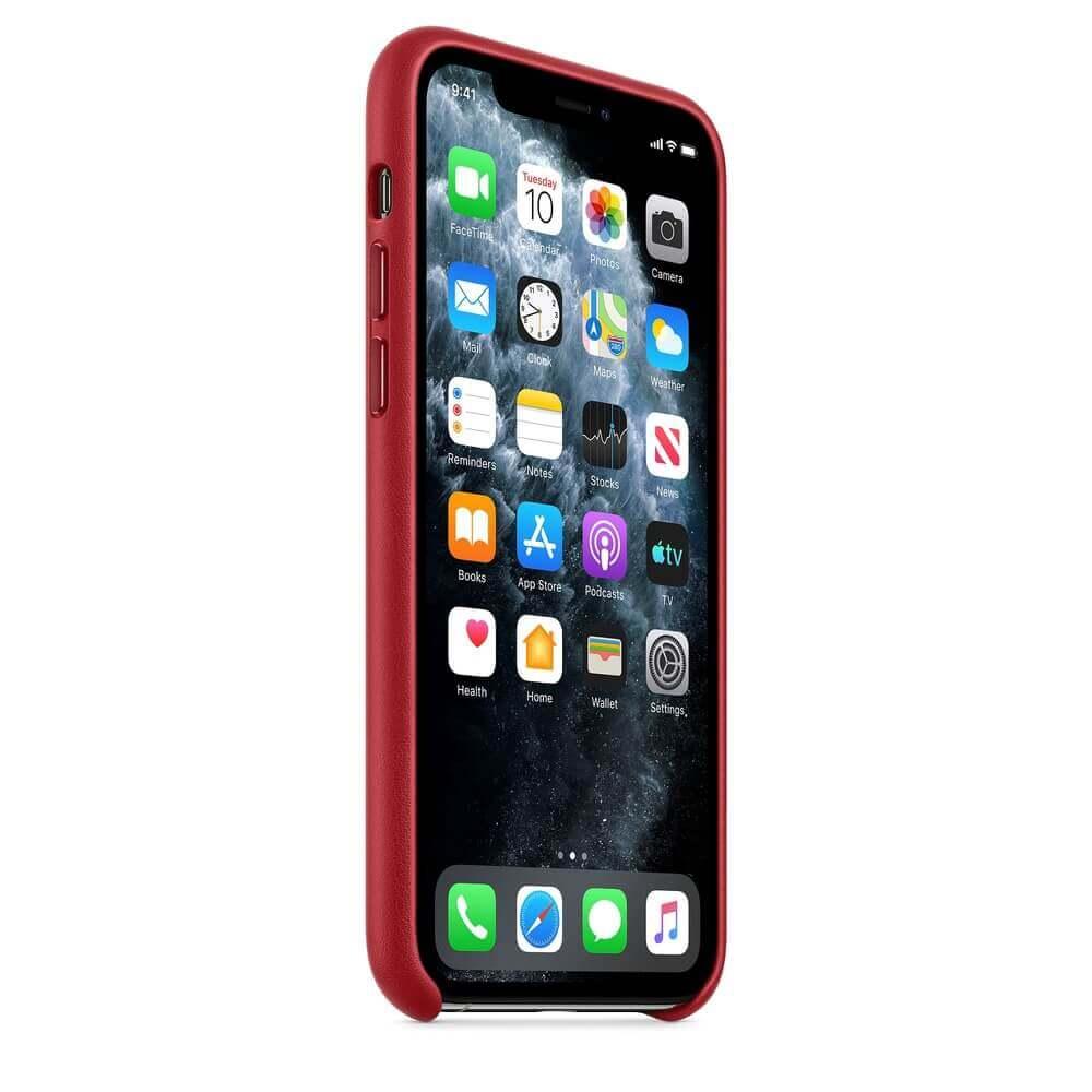 Apple iPhone Leather Case — оригинален кожен кейс (естествена кожа) за iPhone 11 Pro (червен) - 3
