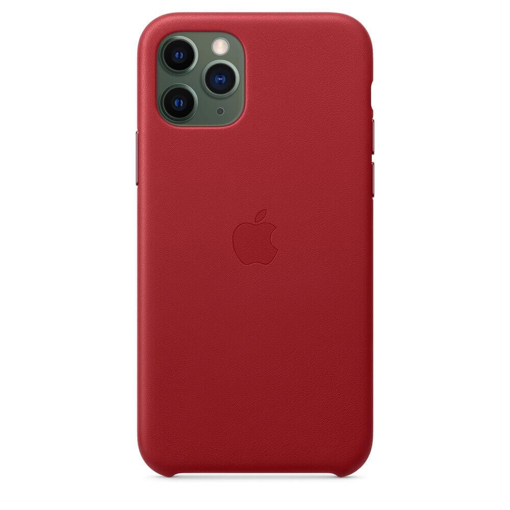 Apple iPhone Leather Case — оригинален кожен кейс (естествена кожа) за iPhone 11 Pro (червен) - 4