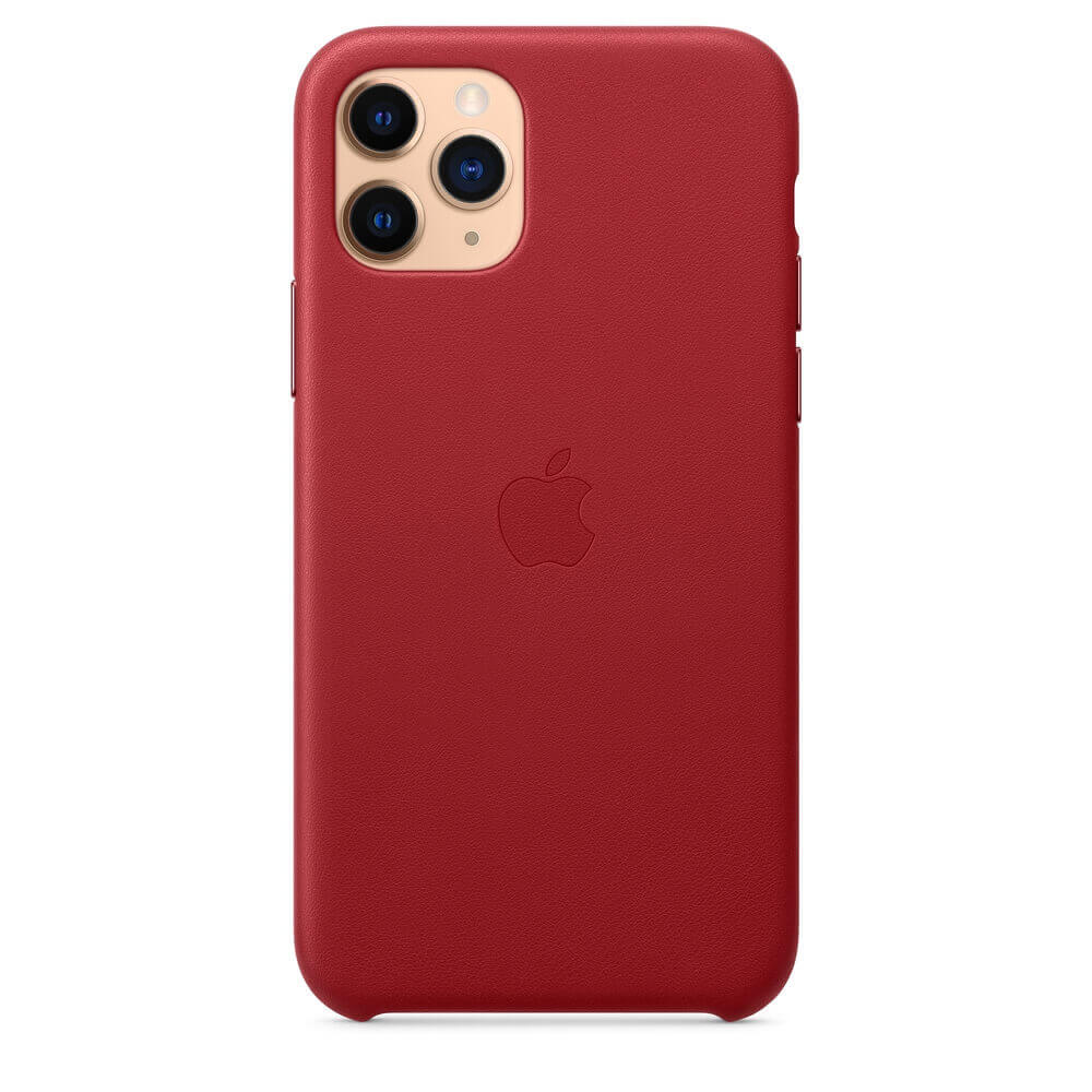 Apple iPhone Leather Case — оригинален кожен кейс (естествена кожа) за iPhone 11 Pro (червен) - 5