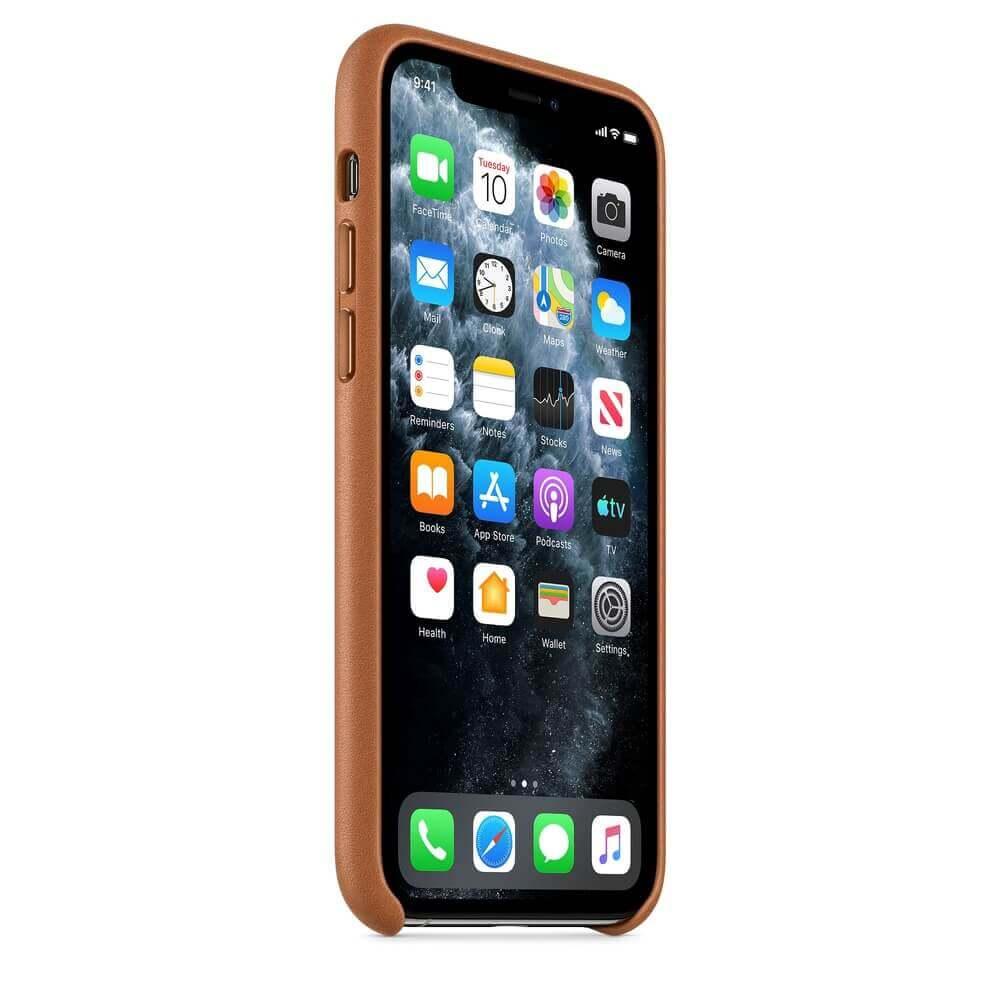 Apple iPhone Leather Case — оригинален кожен кейс (естествена кожа) за iPhone 11 Pro (кафяв) - 3