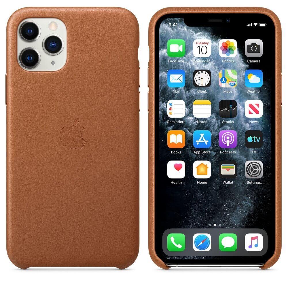 Apple iPhone Leather Case — оригинален кожен кейс (естествена кожа) за iPhone 11 Pro (кафяв) - 1