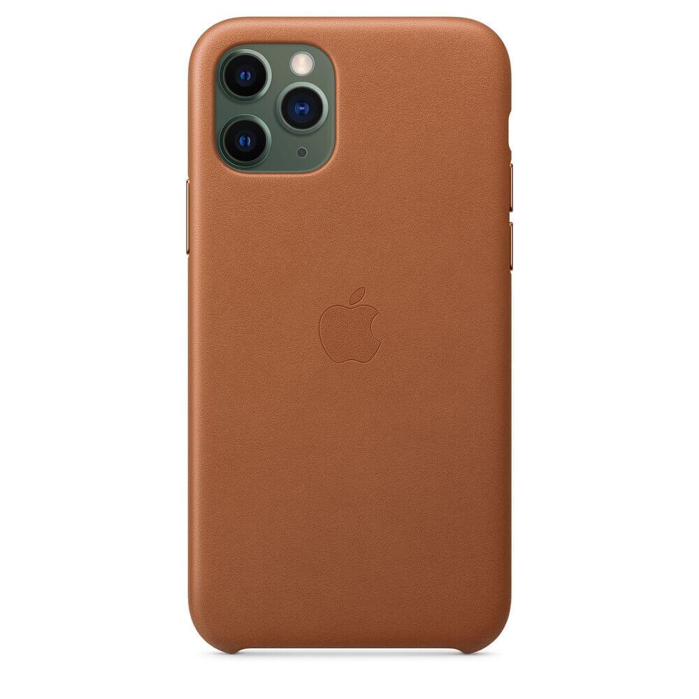 Apple iPhone Leather Case — оригинален кожен кейс (естествена кожа) за iPhone 11 Pro (кафяв) - 4