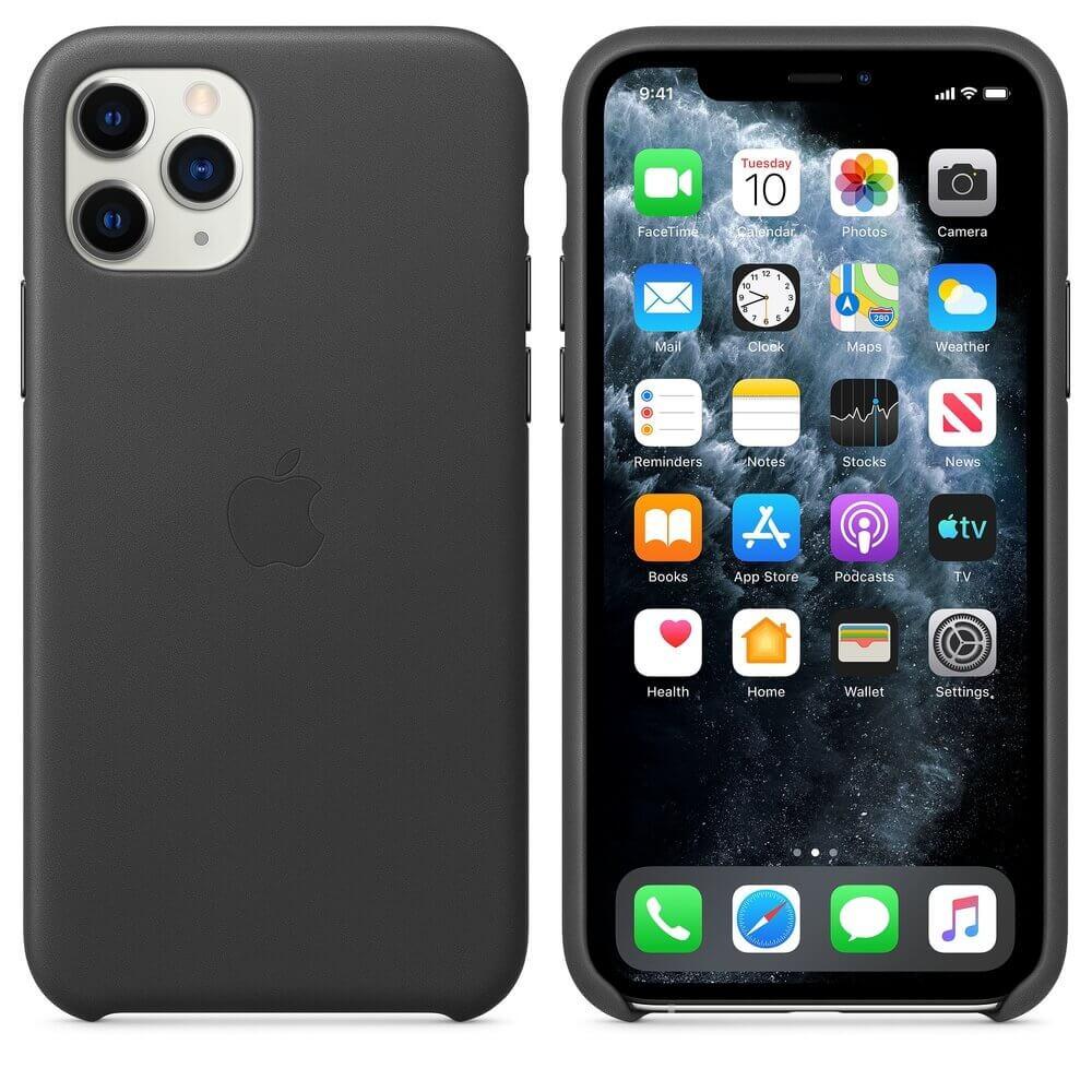 Apple iPhone Leather Case — оригинален кожен кейс (естествена кожа) за iPhone 11 Pro Max (черен) - 1