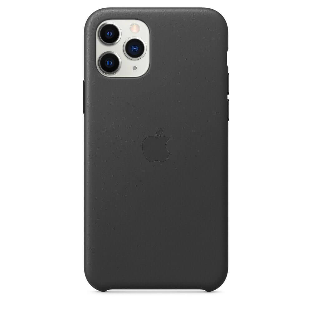 Apple iPhone Leather Case — оригинален кожен кейс (естествена кожа) за iPhone 11 Pro Max (черен) - 5