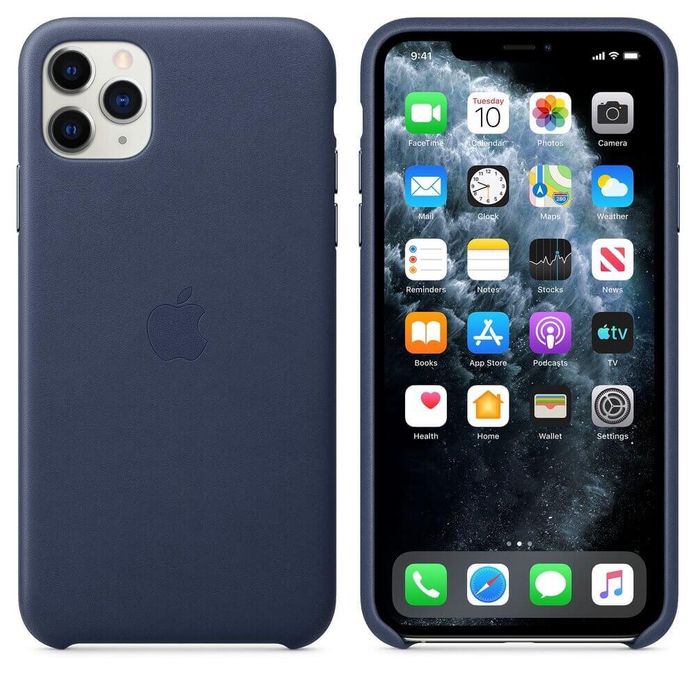 Apple iPhone Leather Case — оригинален кожен кейс (естествена кожа) за iPhone 11 Pro Max (тъмносин) - 1