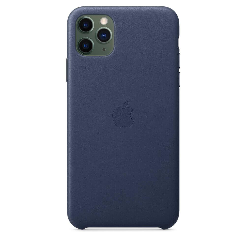 Apple iPhone Leather Case — оригинален кожен кейс (естествена кожа) за iPhone 11 Pro Max (тъмносин) - 3