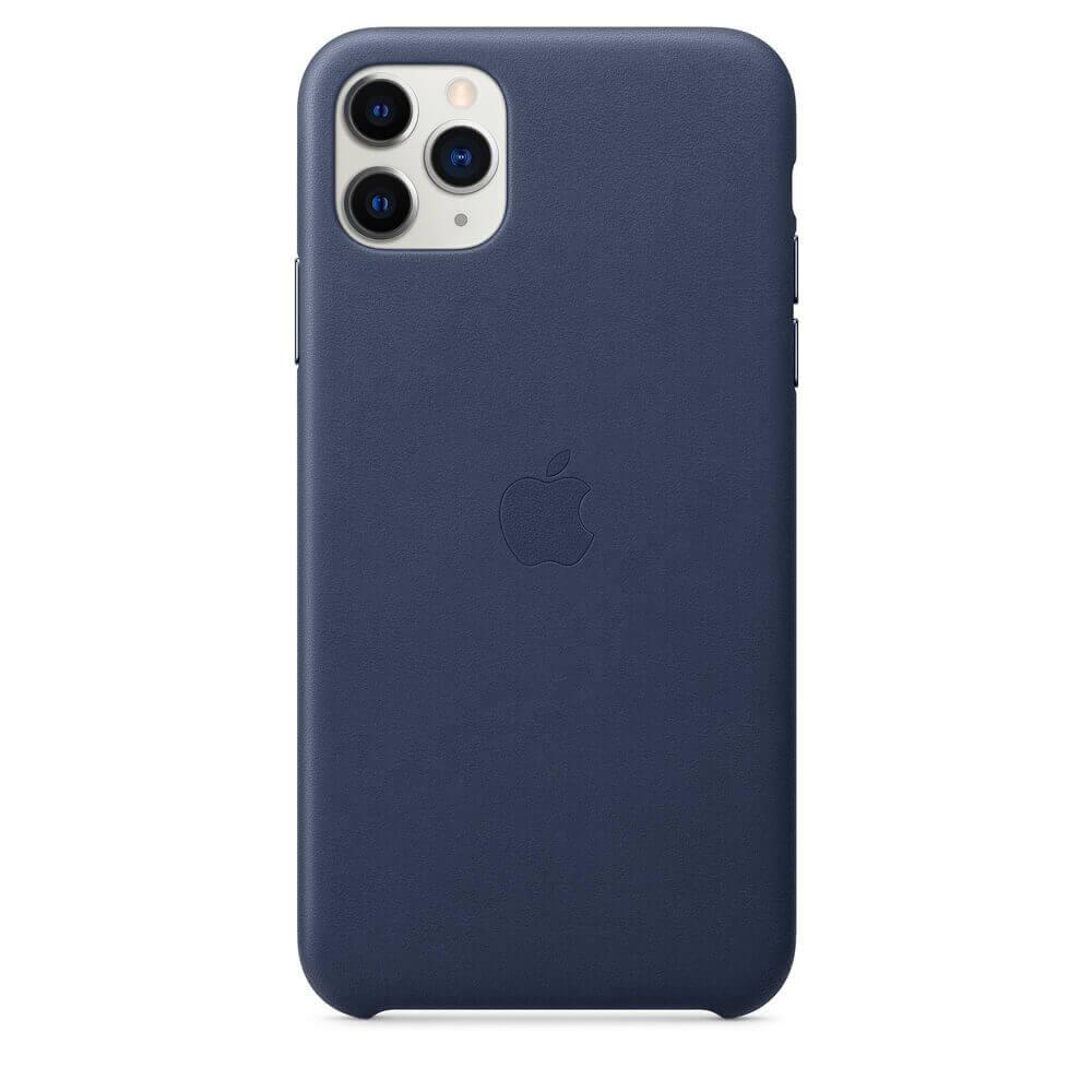 Apple iPhone Leather Case — оригинален кожен кейс (естествена кожа) за iPhone 11 Pro Max (тъмносин) - 2
