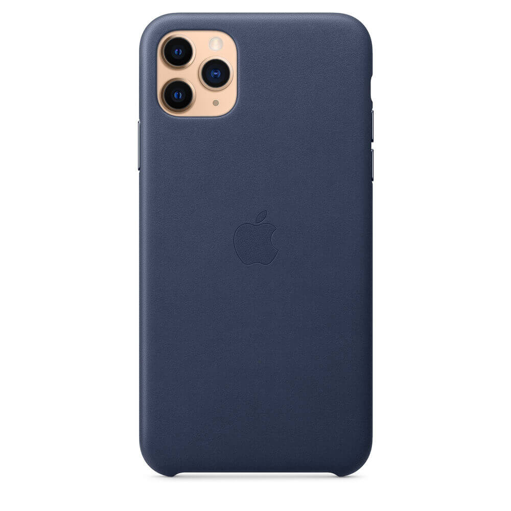 Apple iPhone Leather Case — оригинален кожен кейс (естествена кожа) за iPhone 11 Pro Max (тъмносин) - 5