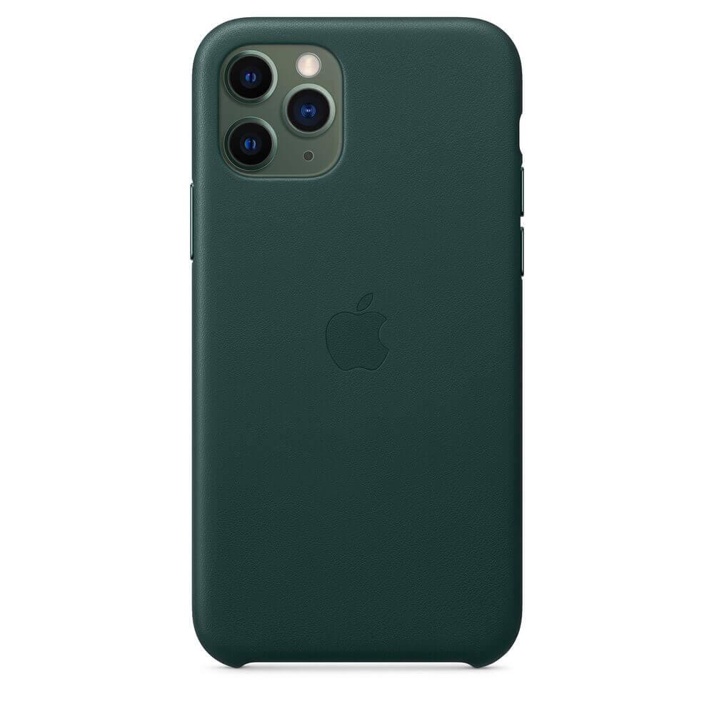 Apple iPhone Leather Case — оригинален кожен кейс (естествена кожа) за iPhone 11 Pro Max (зелен) - 3
