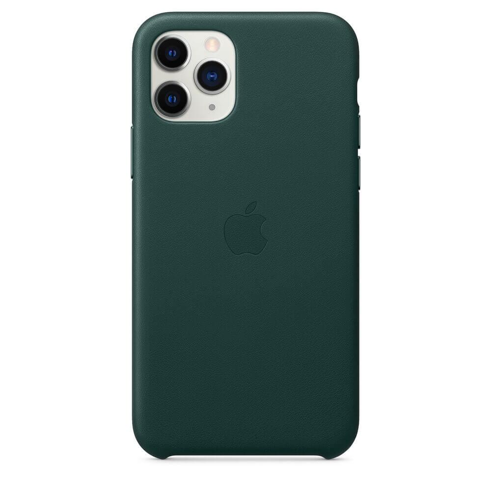 Apple iPhone Leather Case — оригинален кожен кейс (естествена кожа) за iPhone 11 Pro Max (зелен) - 2