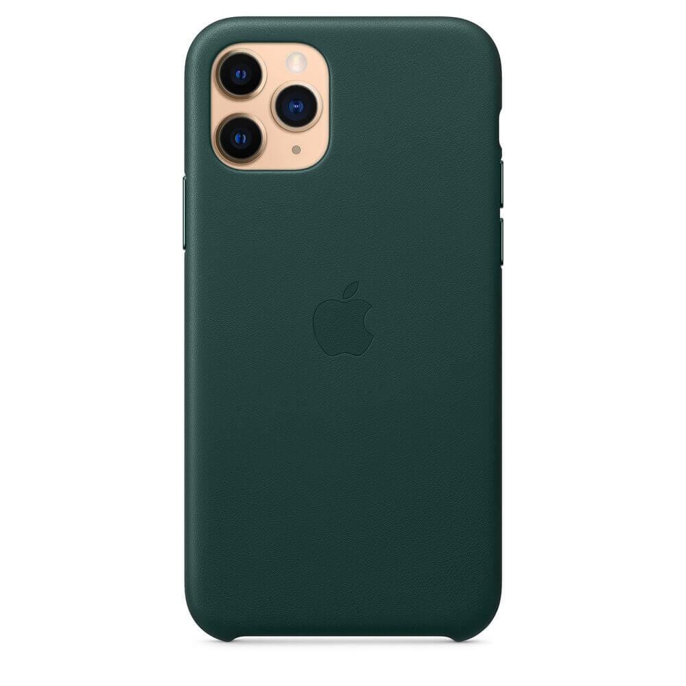 Apple iPhone Leather Case — оригинален кожен кейс (естествена кожа) за iPhone 11 Pro Max (зелен) - 5