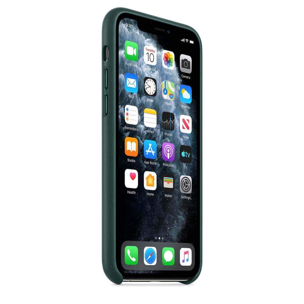 Apple iPhone Leather Case — оригинален кожен кейс (естествена кожа) за iPhone 11 Pro Max (зелен) - 4