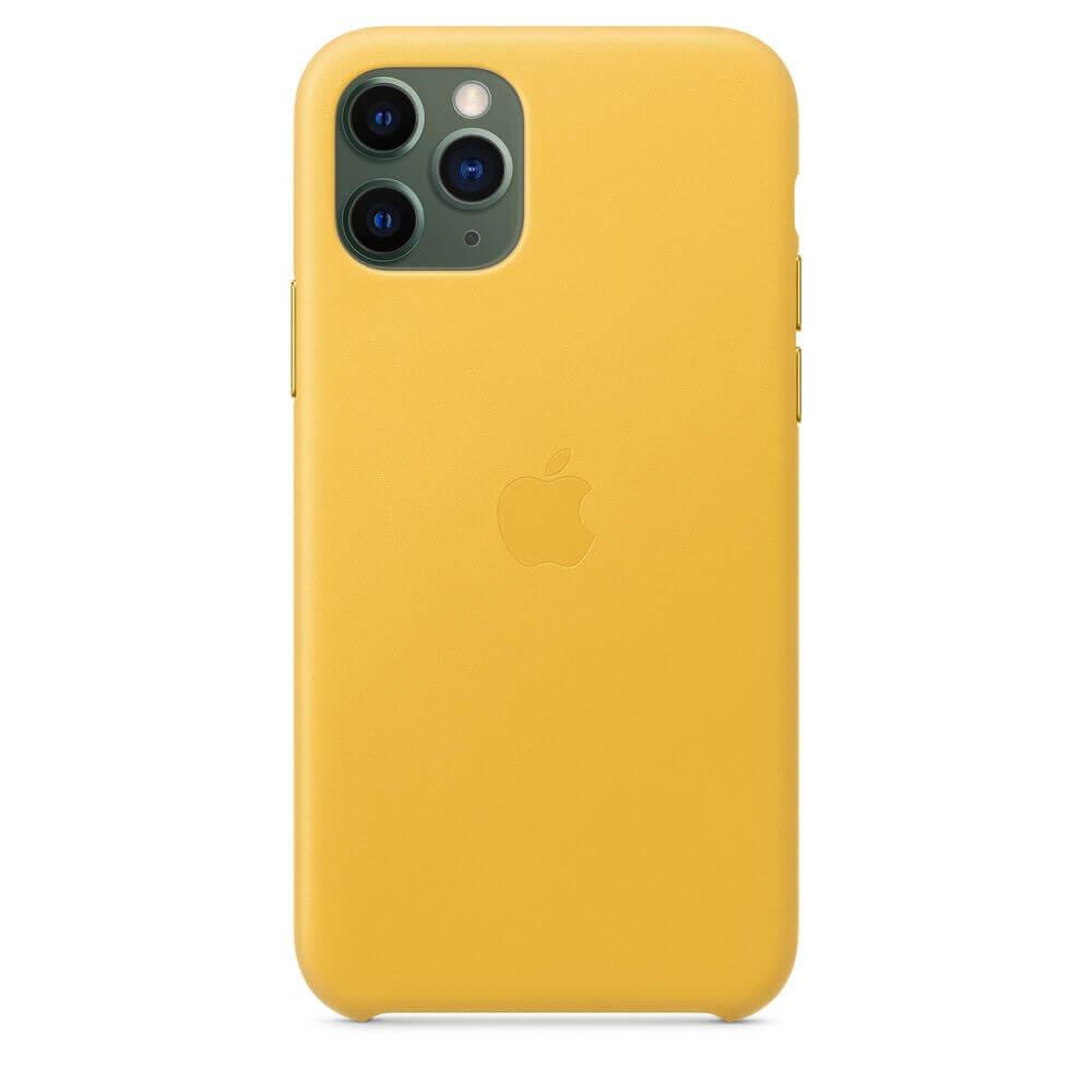 Apple iPhone Leather Case — оригинален кожен кейс (естествена кожа) за iPhone 11 Pro Max (жълт) - 3