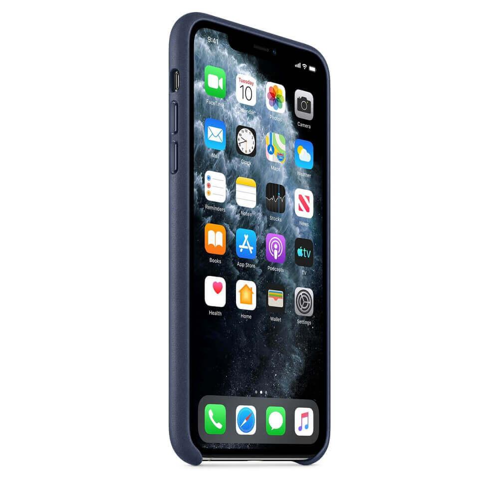Apple iPhone Leather Case — оригинален кожен кейс (естествена кожа) за iPhone 11 Pro (тъмносин) - 2