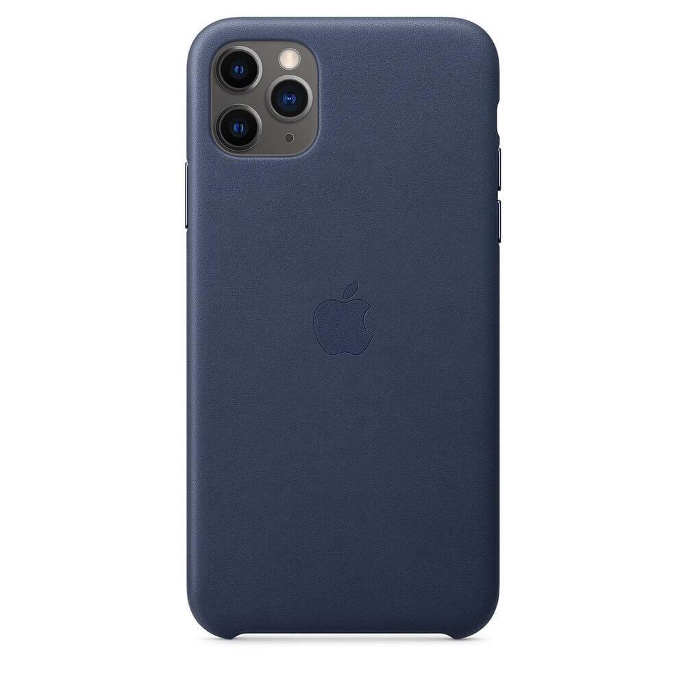 Apple iPhone Leather Case — оригинален кожен кейс (естествена кожа) за iPhone 11 Pro (тъмносин) - 4
