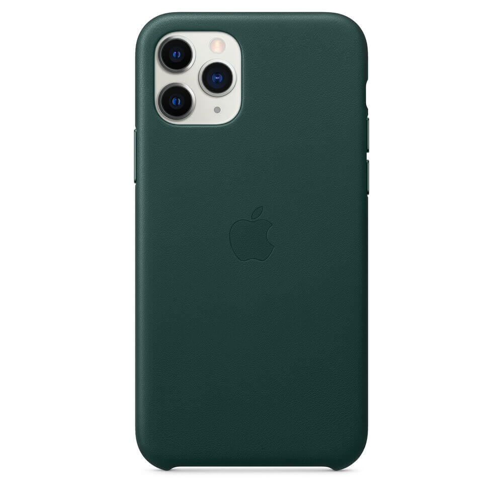 Apple iPhone Leather Case — оригинален кожен кейс (естествена кожа) за iPhone 11 Pro (зелен) - 3