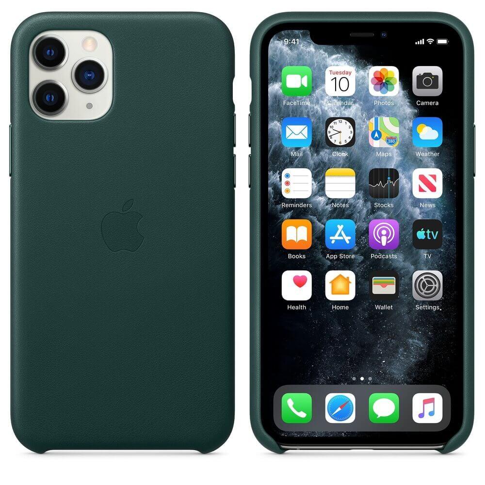 Apple iPhone Leather Case — оригинален кожен кейс (естествена кожа) за iPhone 11 Pro (зелен) - 1