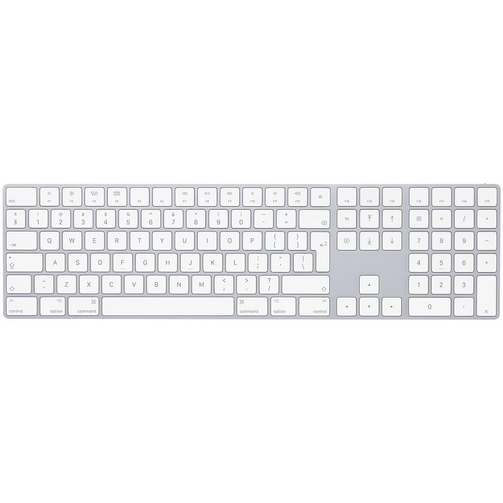 Apple Magic Wireless Keyboard INT with Numeric Keypad — безжична клавиатура за iPad и MacBook (сребрист-бял)  - 1