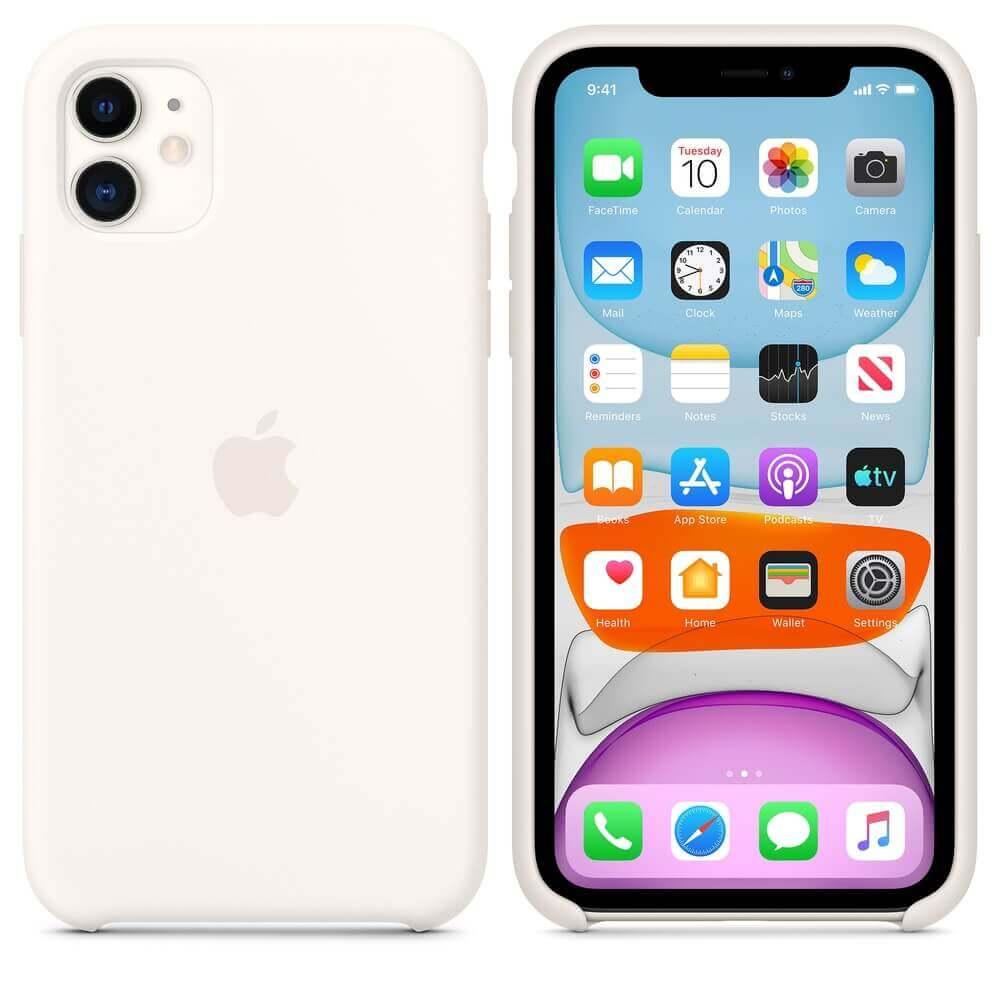 Apple Silicone Case — оригинален силиконов кейс за iPhone 11 (бял) - 1