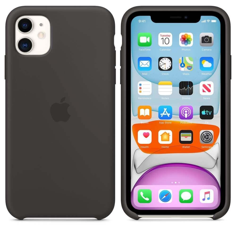 Apple Silicone Case — оригинален силиконов кейс за iPhone 11 (черен) - 1