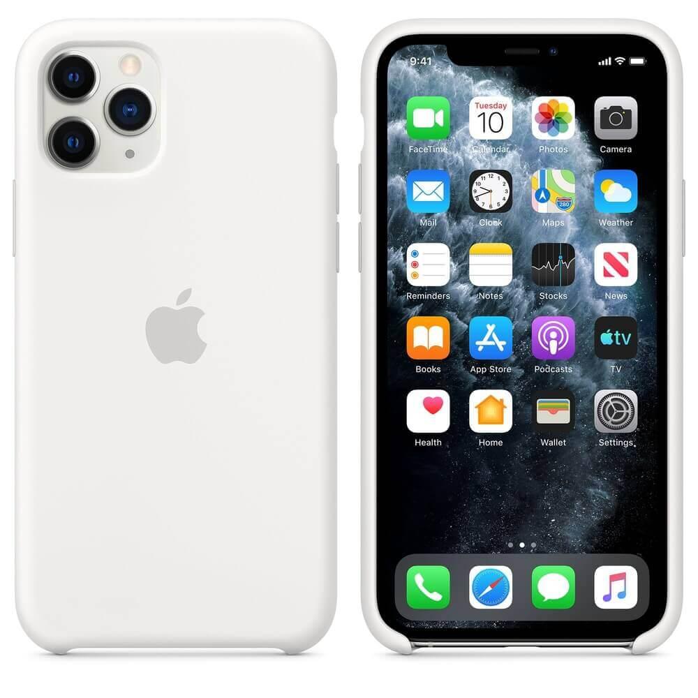 Apple Silicone Case — оригинален силиконов кейс за iPhone 11 Pro (бял) - 1