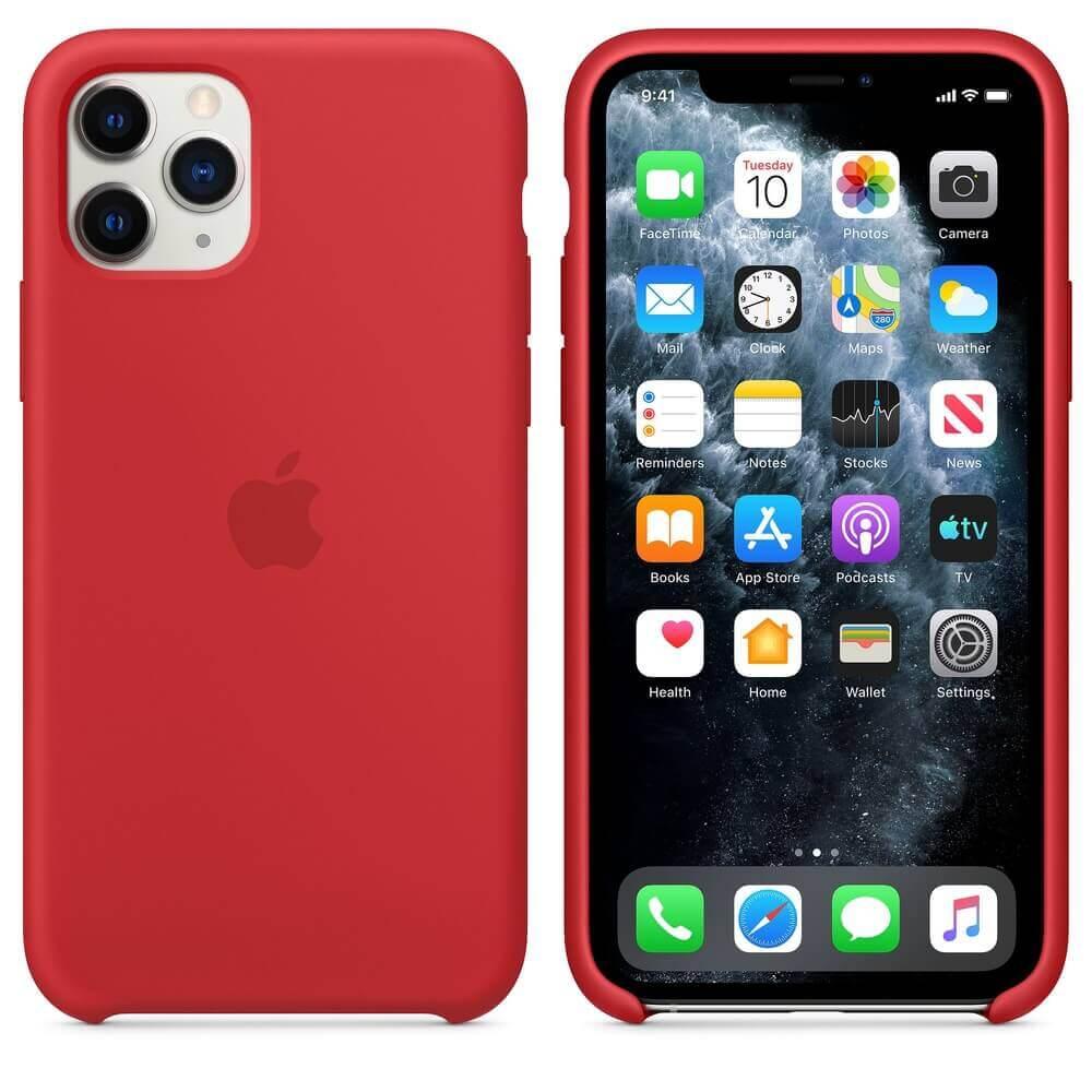 Apple Silicone Case — оригинален силиконов кейс за iPhone 11 Pro (червен) - 1