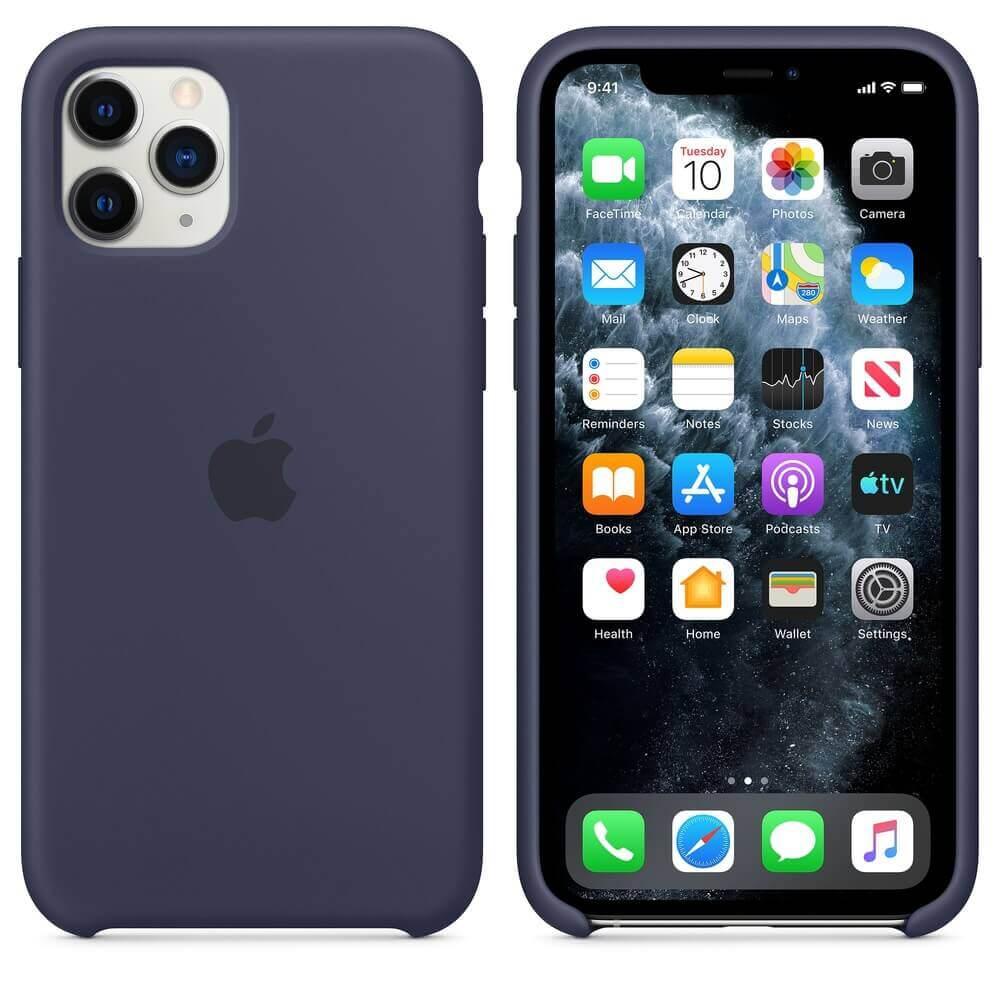 Apple Silicone Case — оригинален силиконов кейс за iPhone 11 Pro Max (тъмносин) - 1