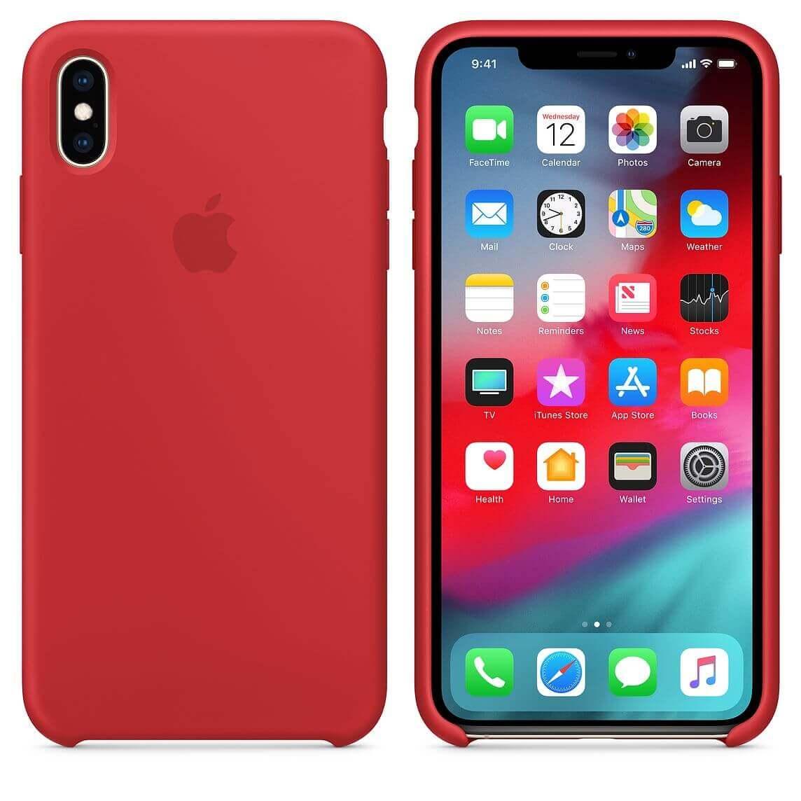 Apple Silicone Case — оригинален силиконов кейс за iPhone XS (червен) (bulk) - 2