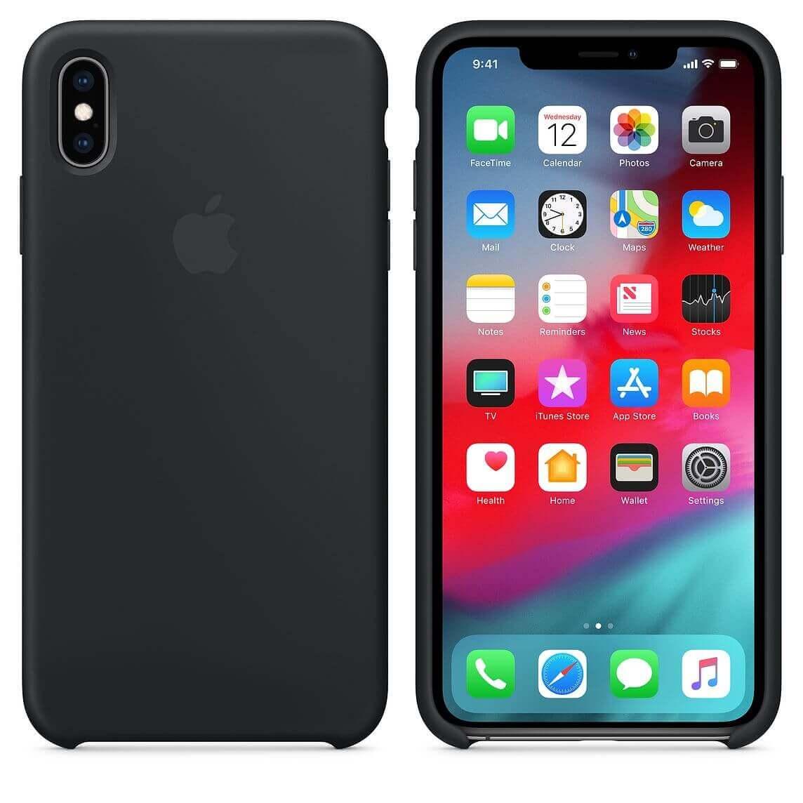 Apple Silicone Case — оригинален силиконов кейс за iPhone XS Max (черен) (bulk) - 5