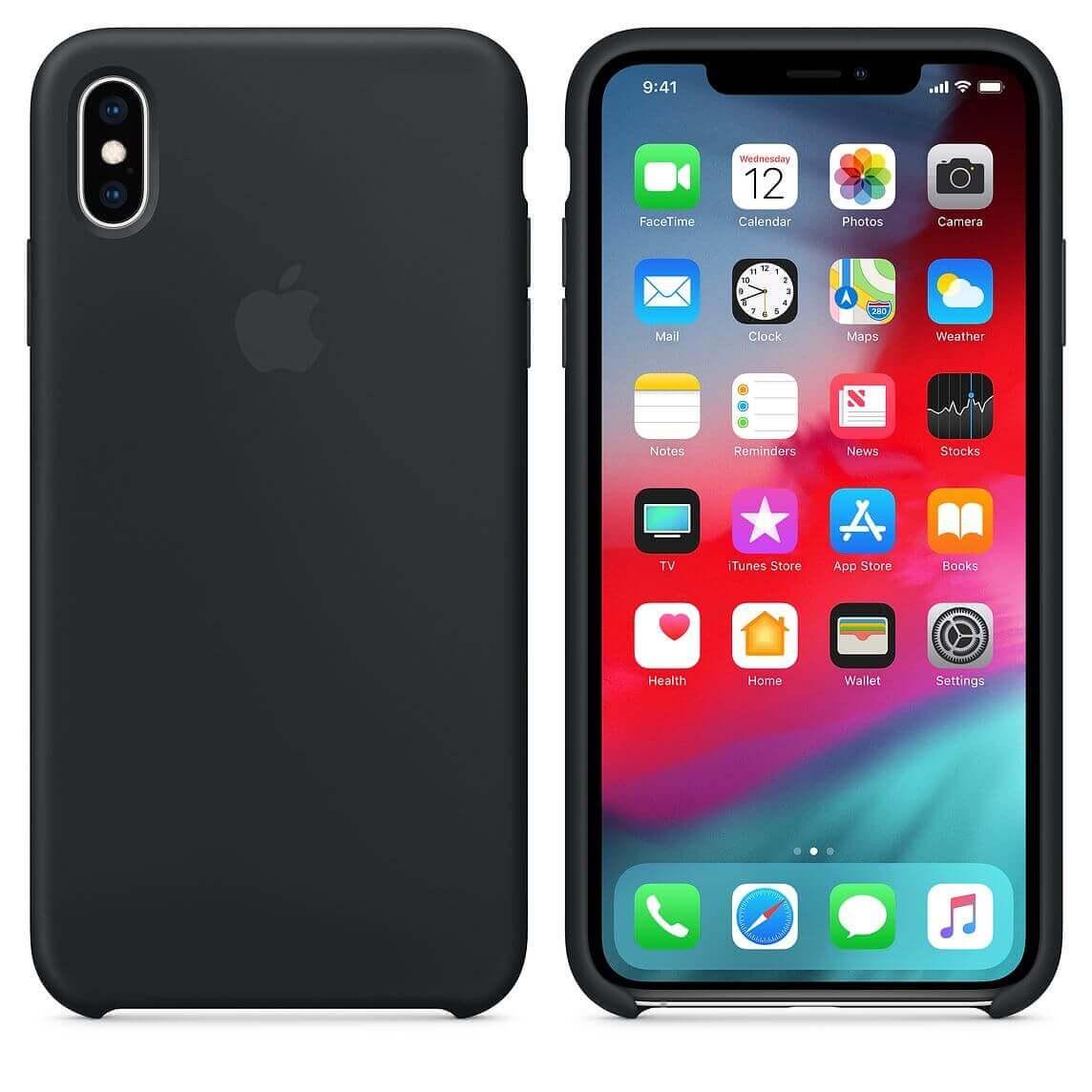 Apple Silicone Case — оригинален силиконов кейс за iPhone XS Max (черен) (bulk) - 3
