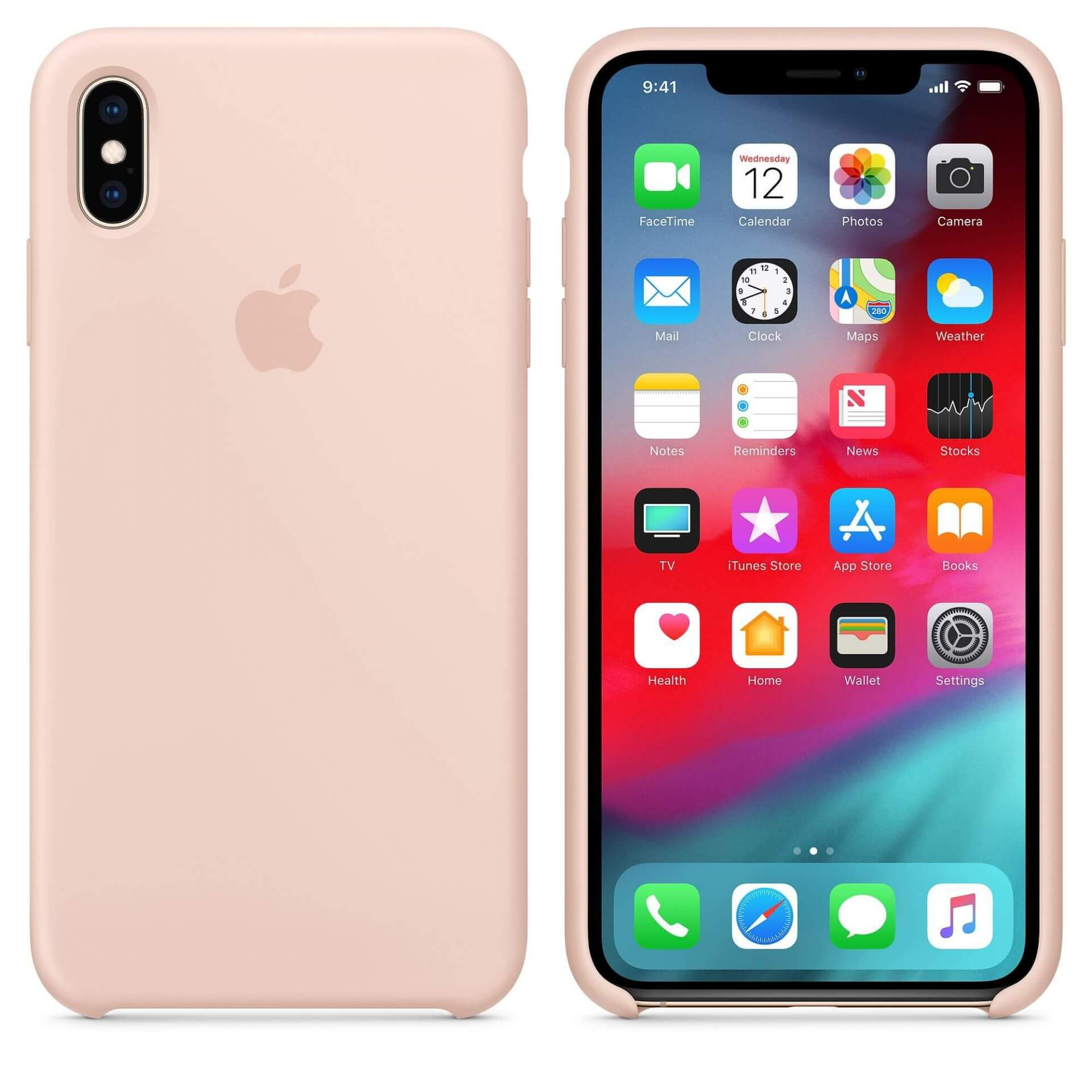 Apple Silicone Case — оригинален силиконов кейс за iPhone XS Max (розов пясък) (bulk) - 3