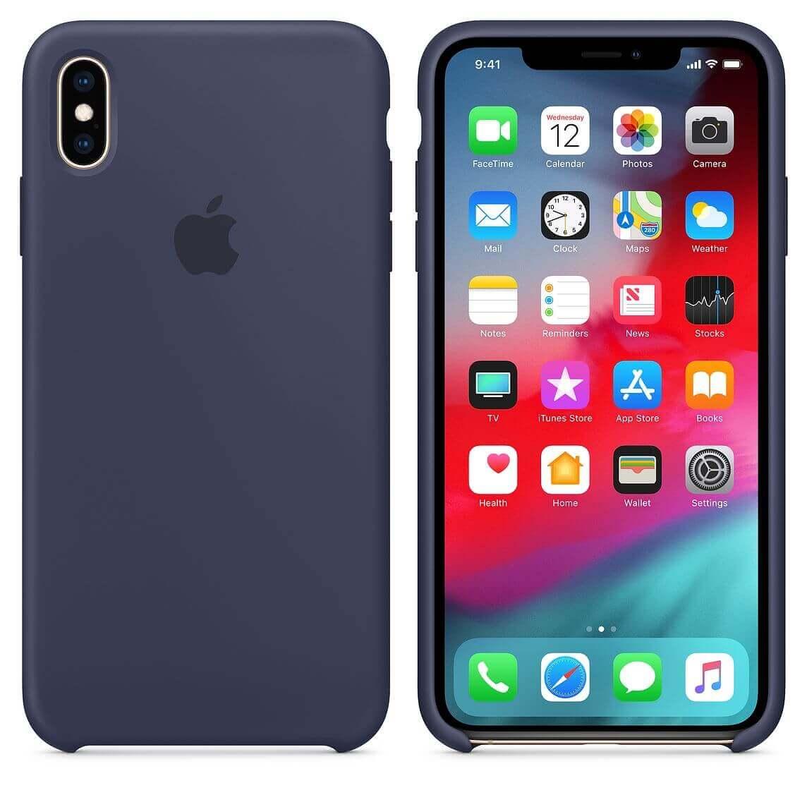 Apple Silicone Case — оригинален силиконов кейс за iPhone XS Max (тъмносин) (bulk) - 4