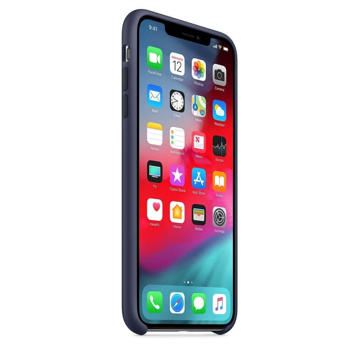 Apple Silicone Case — оригинален силиконов кейс за iPhone XS Max (тъмносин) (bulk) - 5