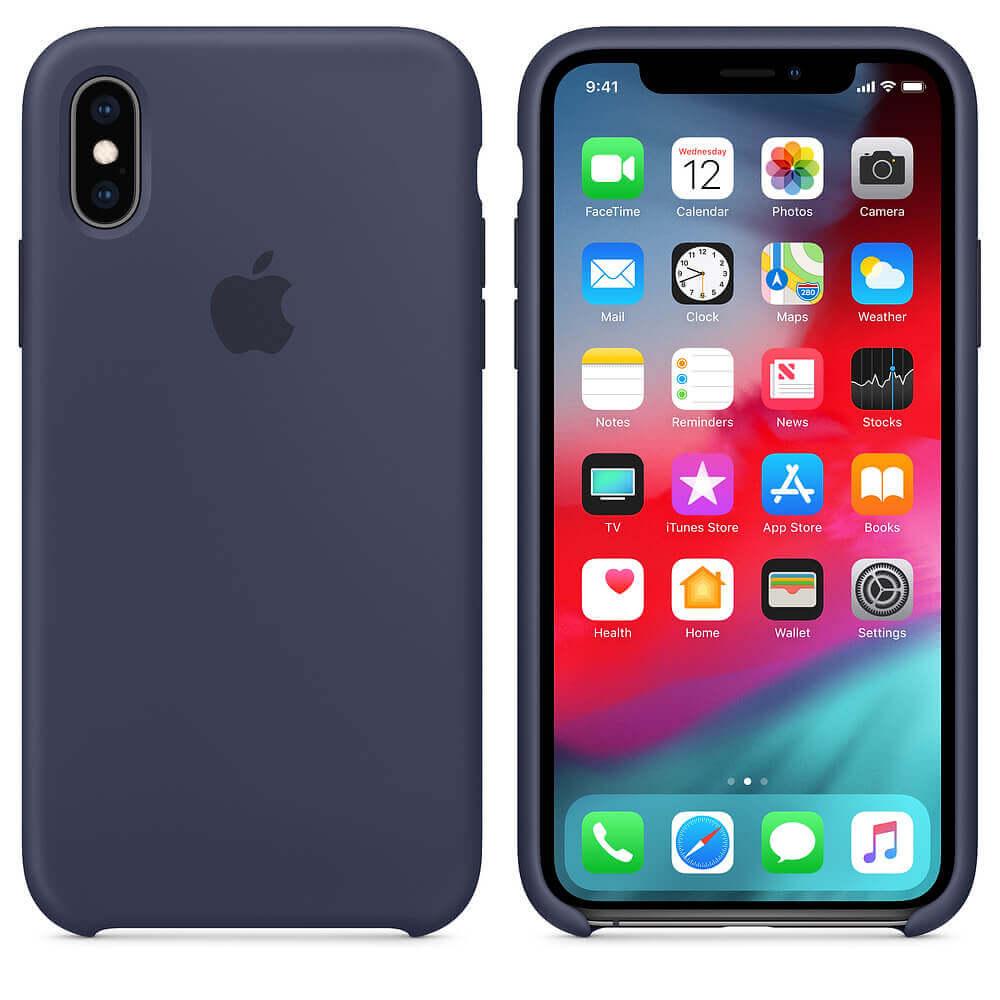 Apple Silicone Case — оригинален силиконов кейс за iPhone XS (тъмносин) (bulk) - 3