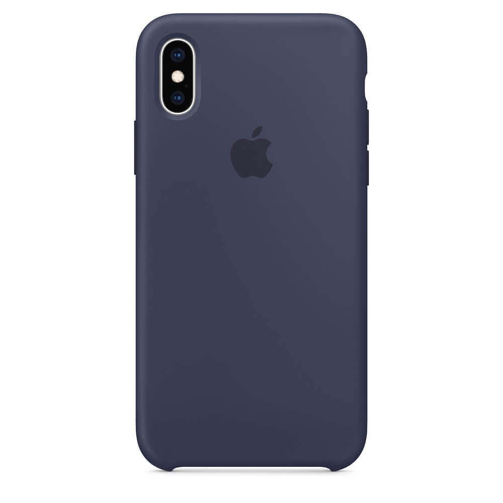 Apple Silicone Case — оригинален силиконов кейс за iPhone XS (тъмносин) (bulk) - 1