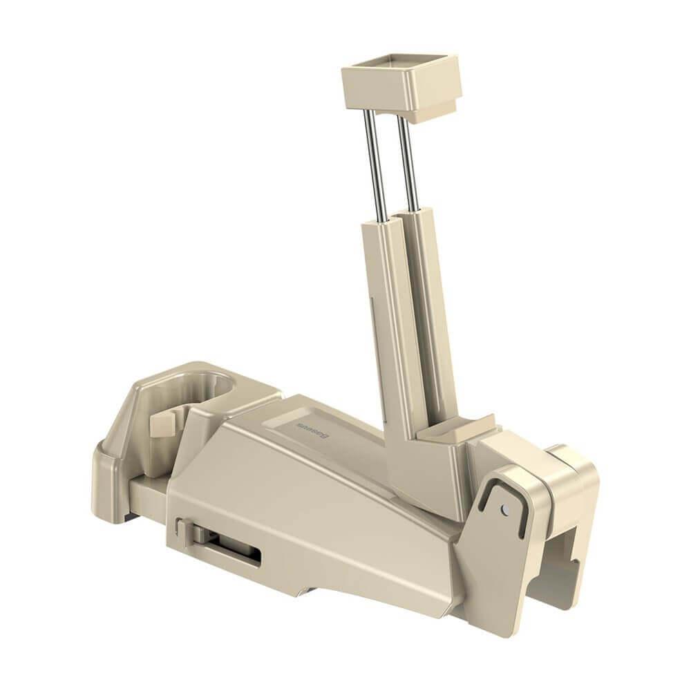 Baseus Backseat Vehicle Phone Holder Hook — 2 в 1 поставка за смартфон и закачалка за чанта за седалката на автомобил (бежав) - 3