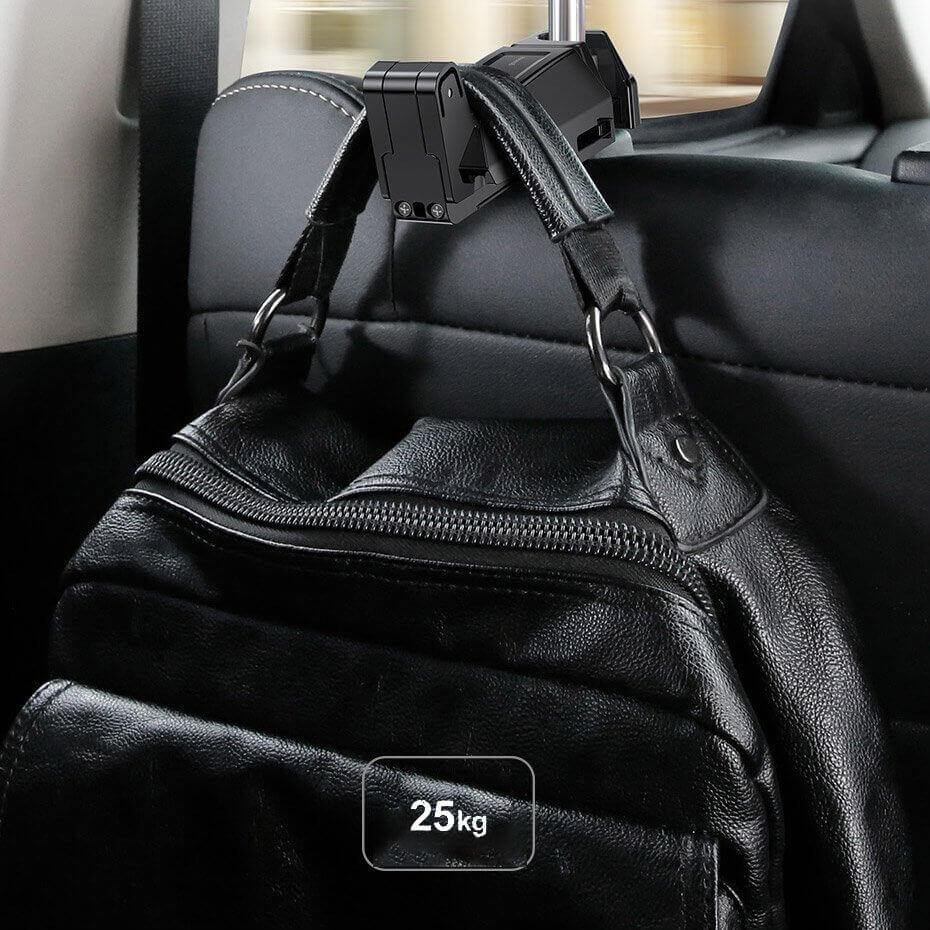 Baseus Backseat Vehicle Phone Holder Hook — 2 в 1 поставка за смартфон и закачалка за чанта за седалката на автомобил (бежав) - 2