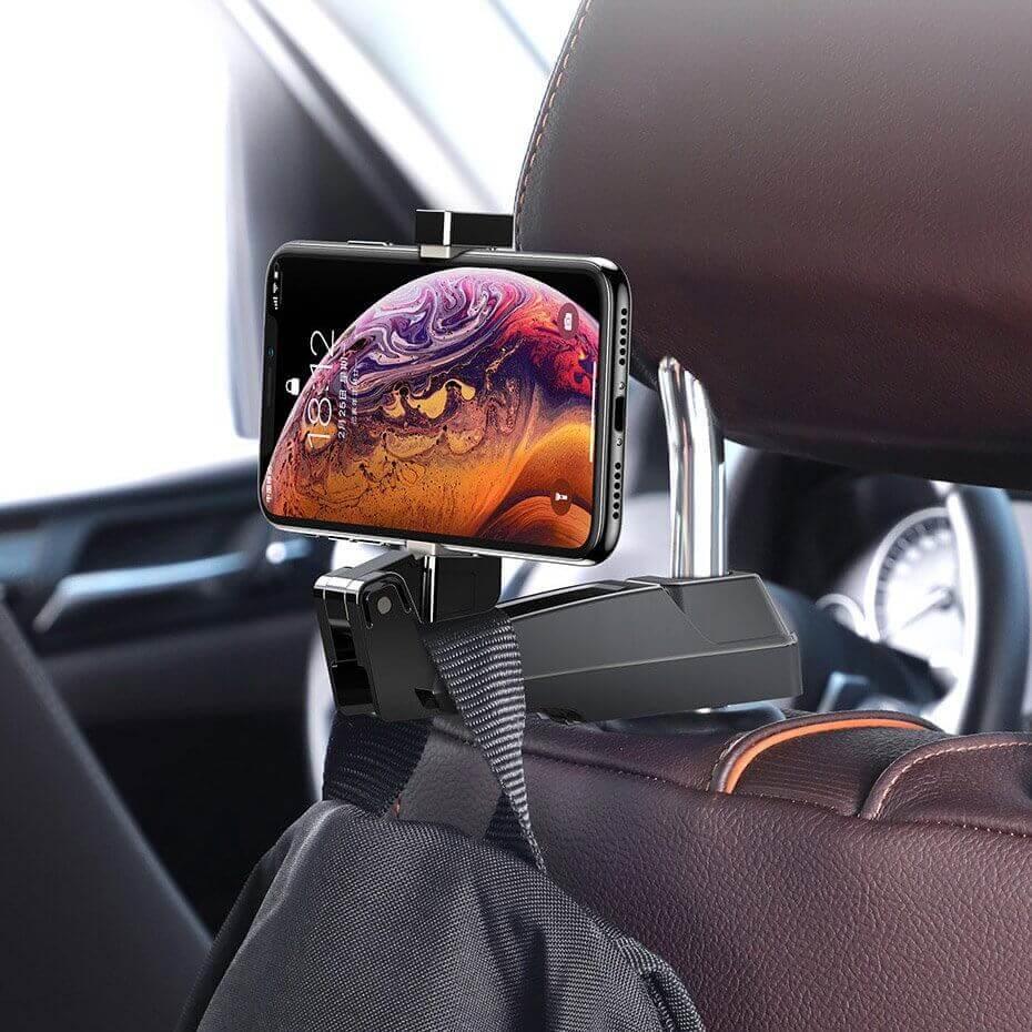 Baseus Backseat Vehicle Phone Holder Hook — 2 в 1 поставка за смартфон и закачалка за чанта за седалката на автомобил (бежав) - 4