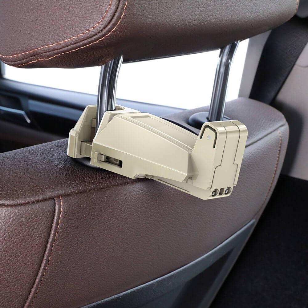Baseus Backseat Vehicle Phone Holder Hook — 2 в 1 поставка за смартфон и закачалка за чанта за седалката на автомобил (бежав) - 1