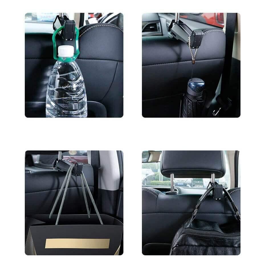 Baseus Backseat Vehicle Phone Holder Hook — 2 в 1 поставка за смартфон и закачалка за чанта за седалката на автомобил (бежав) - 5