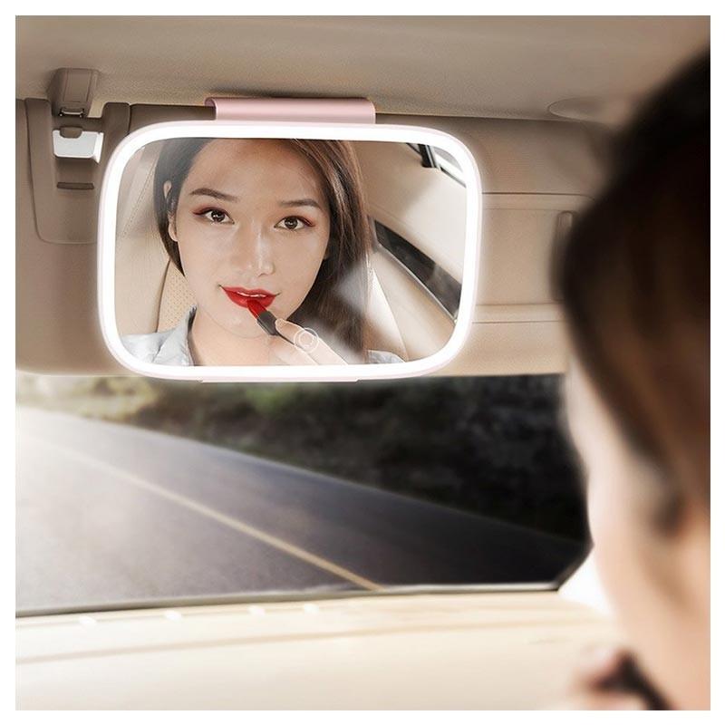 Baseus Delicate Queen Car Touch-Up Mirror - огледало с LED светлина за сенника на автомобил (розов) - 5