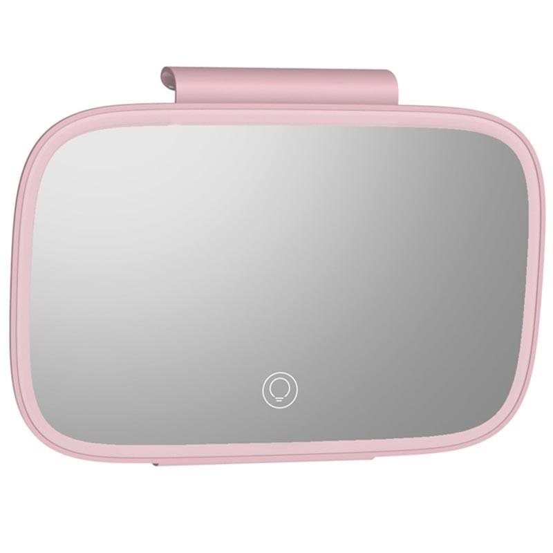 Baseus Delicate Queen Car Touch-Up Mirror - огледало с LED светлина за сенника на автомобил (розов) - 3