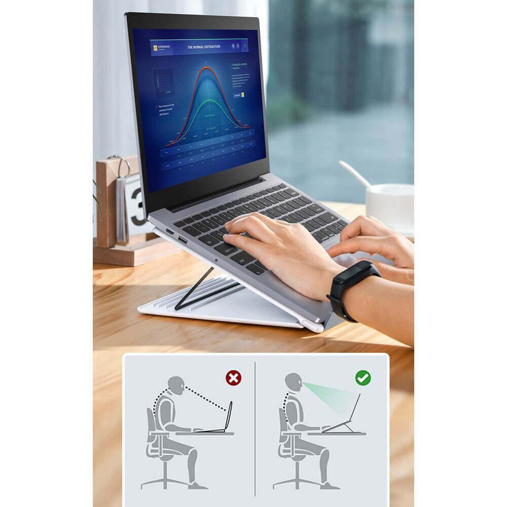 Baseus Foldable Laptop Stand — преносима сгъваема поставка за MacBook и лаптопи (бял) - 4