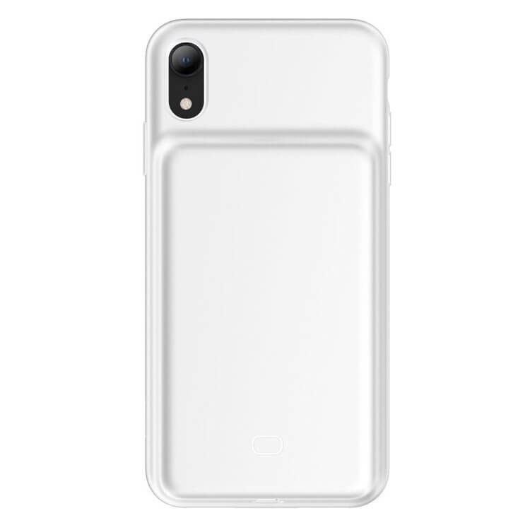 Baseus Liquid Silicone Smart Back Clamp Power Supply 3900mAh — силиконов кейс с вградена батерия за iPhone XR (бял) - 3