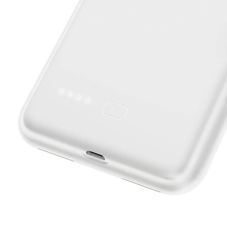 Baseus Liquid Silicone Smart Back Clamp Power Supply 3900mAh — силиконов кейс с вградена батерия за iPhone XR (бял) - 4