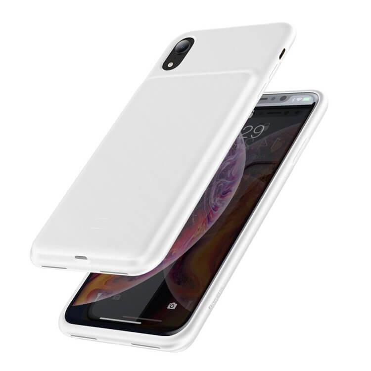 Baseus Liquid Silicone Smart Back Clamp Power Supply 3900mAh — силиконов кейс с вградена батерия за iPhone XR (бял) - 1