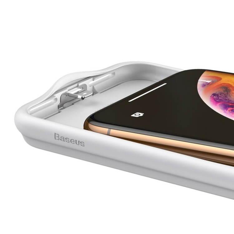 Baseus Liquid Silicone Smart Back Clamp Power Supply 3900mAh — силиконов кейс с вградена батерия за iPhone XR (бял) - 2