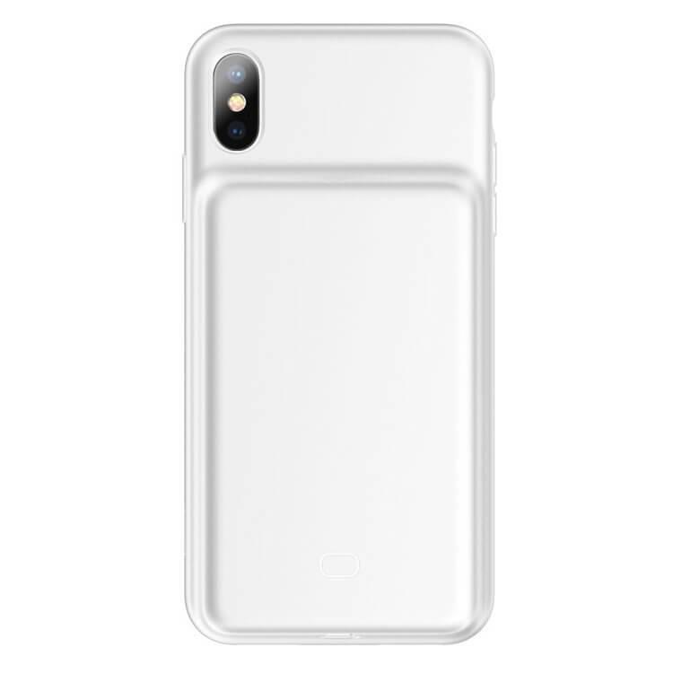 Baseus Liquid Silicone Smart Back Clamp Power Supply 4200mAh — силиконов кейс с вградена батерия за iPhone XS Max (бял) - 4