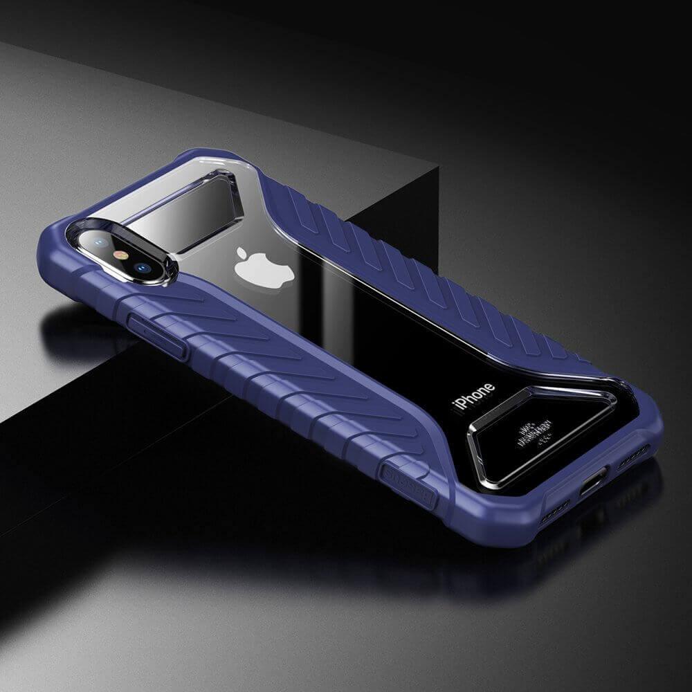 Baseus Michelin Case — удароустойчив хибриден кейс за iPhone XS Max (син) - 4